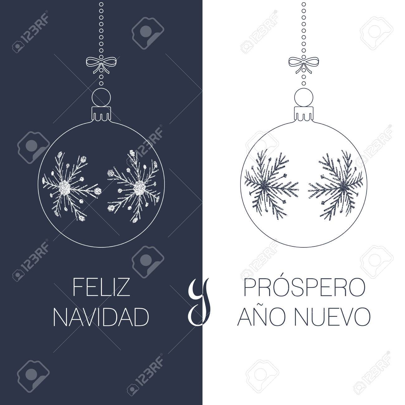 Spanish Christmas And New Year Greeting Card With Textured Christmas ...