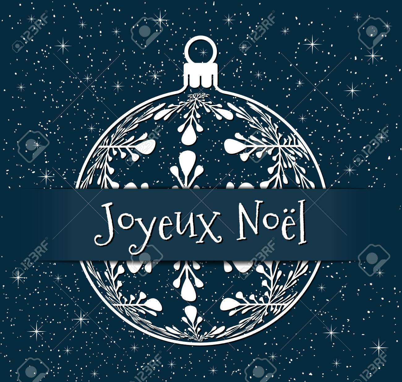 French christmas greeting card white silhouette of christmas french christmas greeting card white silhouette of christmas ball with text on snowy blue background m4hsunfo Images