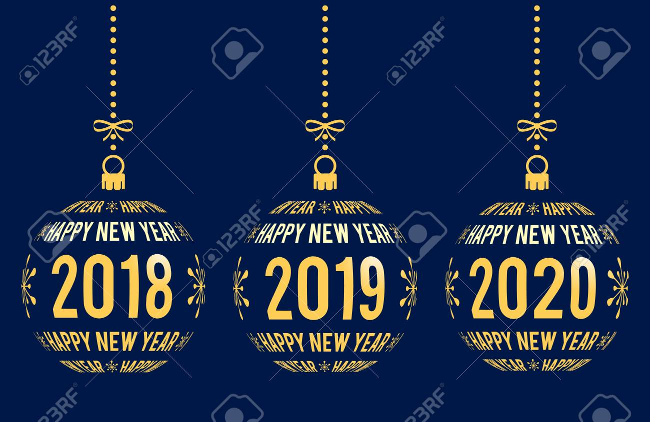 Christmas 2020.Happy New Year Graphic Elements For Years 2018 2019 2020 Christmas