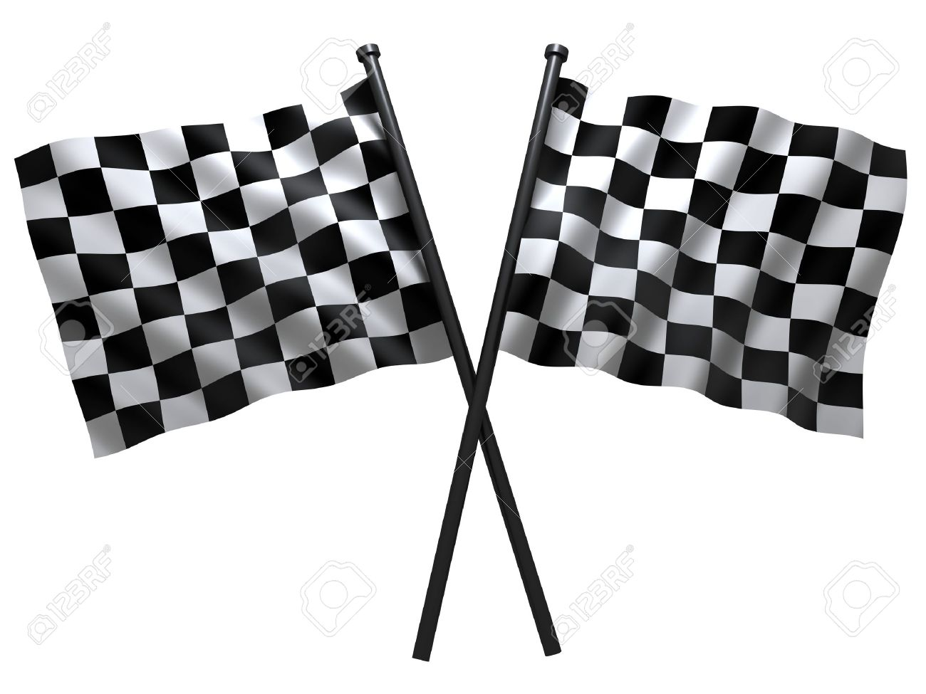 flag of start or finesha, done in 3d Stock Photo - 4998080