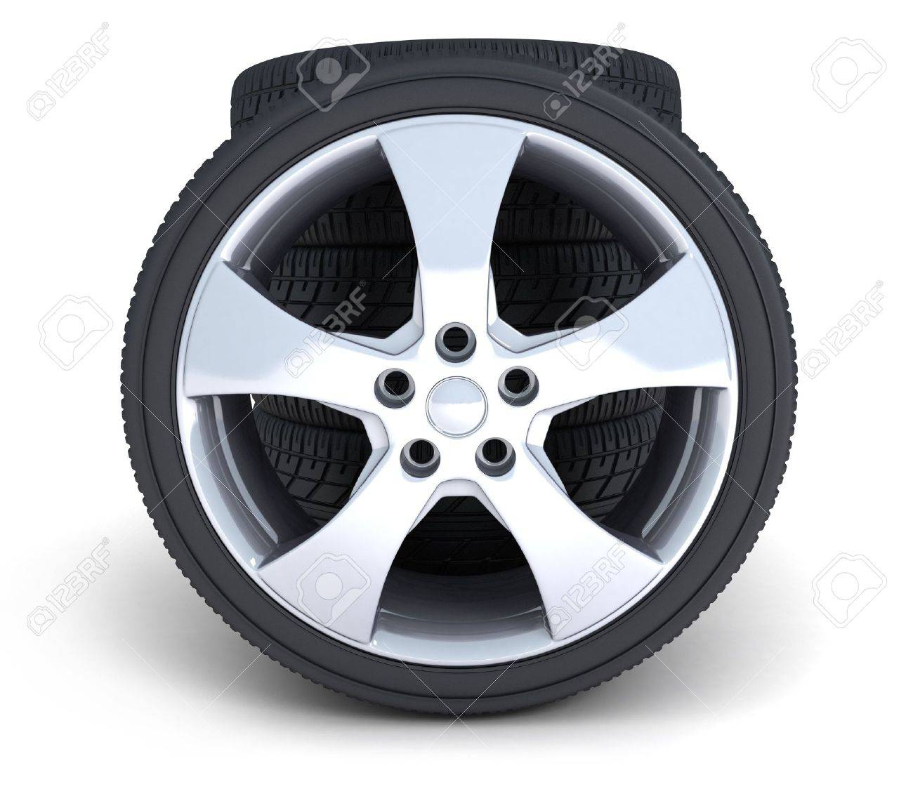 four motor car wheels on a white background Stock Photo - 5998450