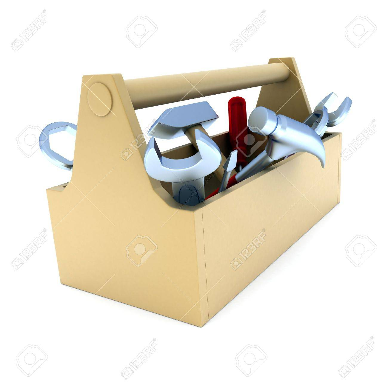 toolbox, white and isolated  background (done in 3d) Stock Photo - 6679972