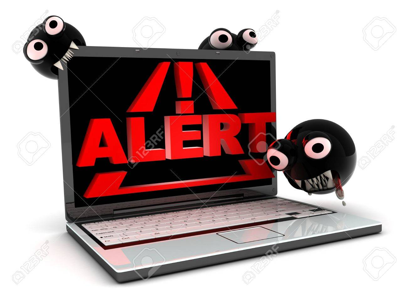 Attack virus on laptop, abstract (done in 3d) Stock Photo - 7929233