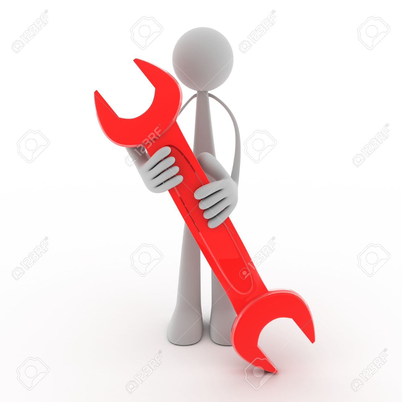 Abstract man and red key (done in 3d, isolated) Stock Photo - 8053381