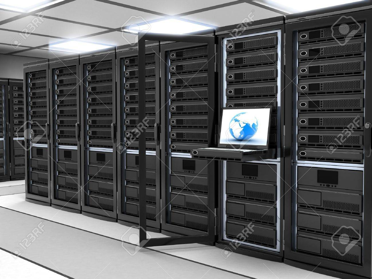 Modern Server-room (done in 3d,black) Stock Photo - 9572316