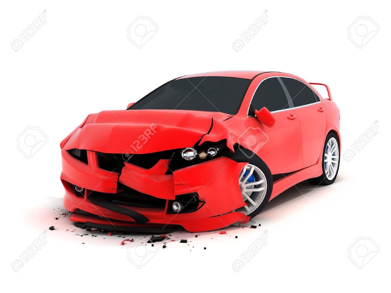 Car crash on white background (done in 3d) Stock Photo - 10552454