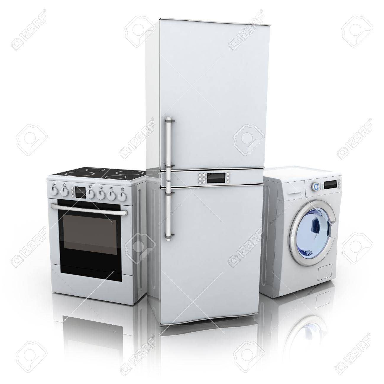 Consumer electronics.Fridge,washer and electric-cooker (done in 3d) Stock Photo - 12326943