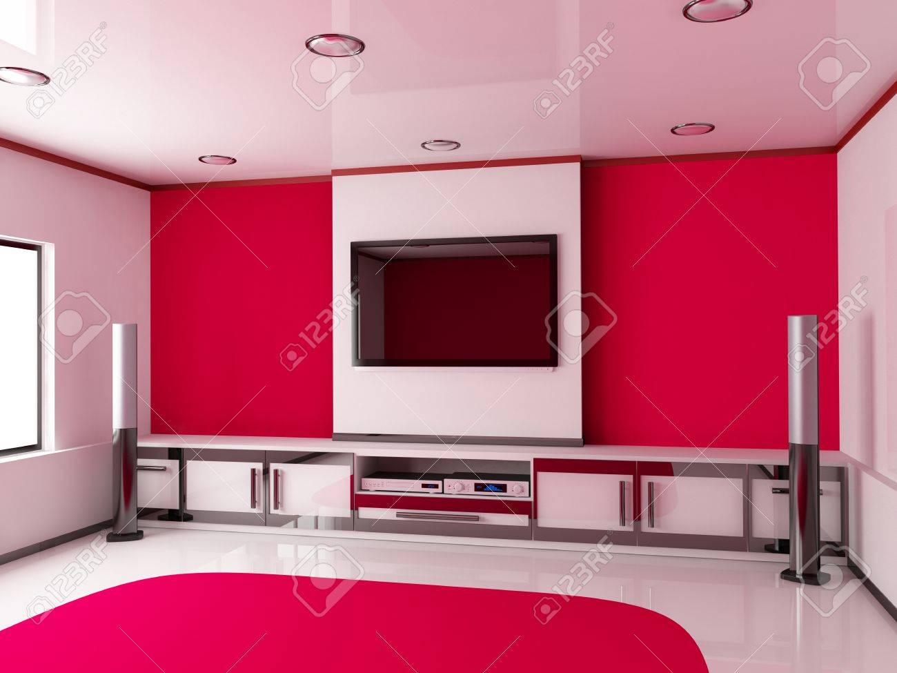 Design modern red room  done 3d Stock Photo - 13005895