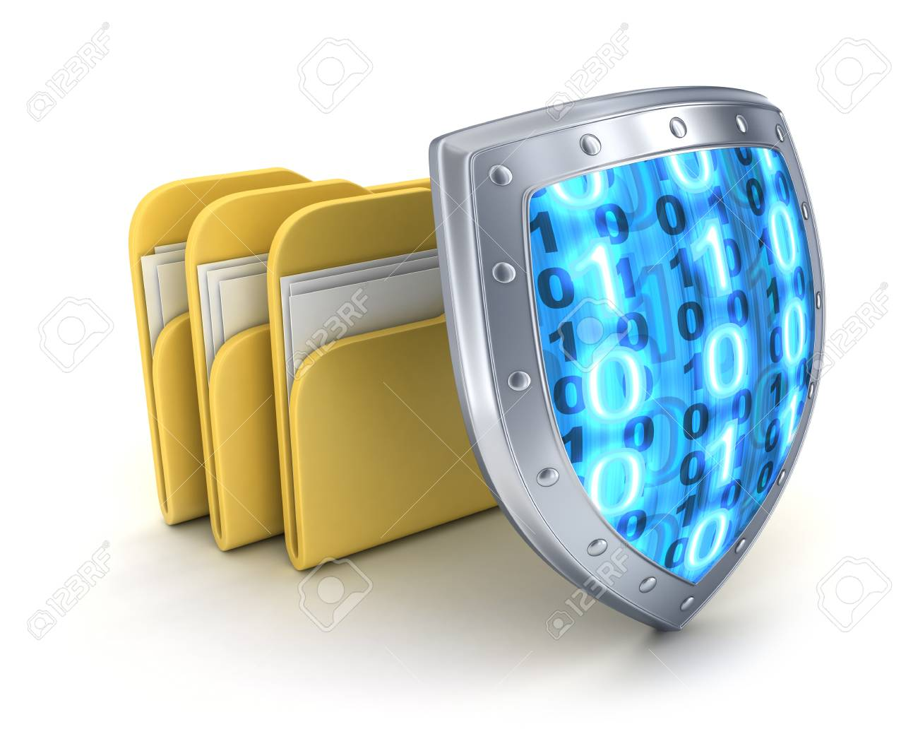 Three file and shield (done in 3d) Stock Photo - 17473901