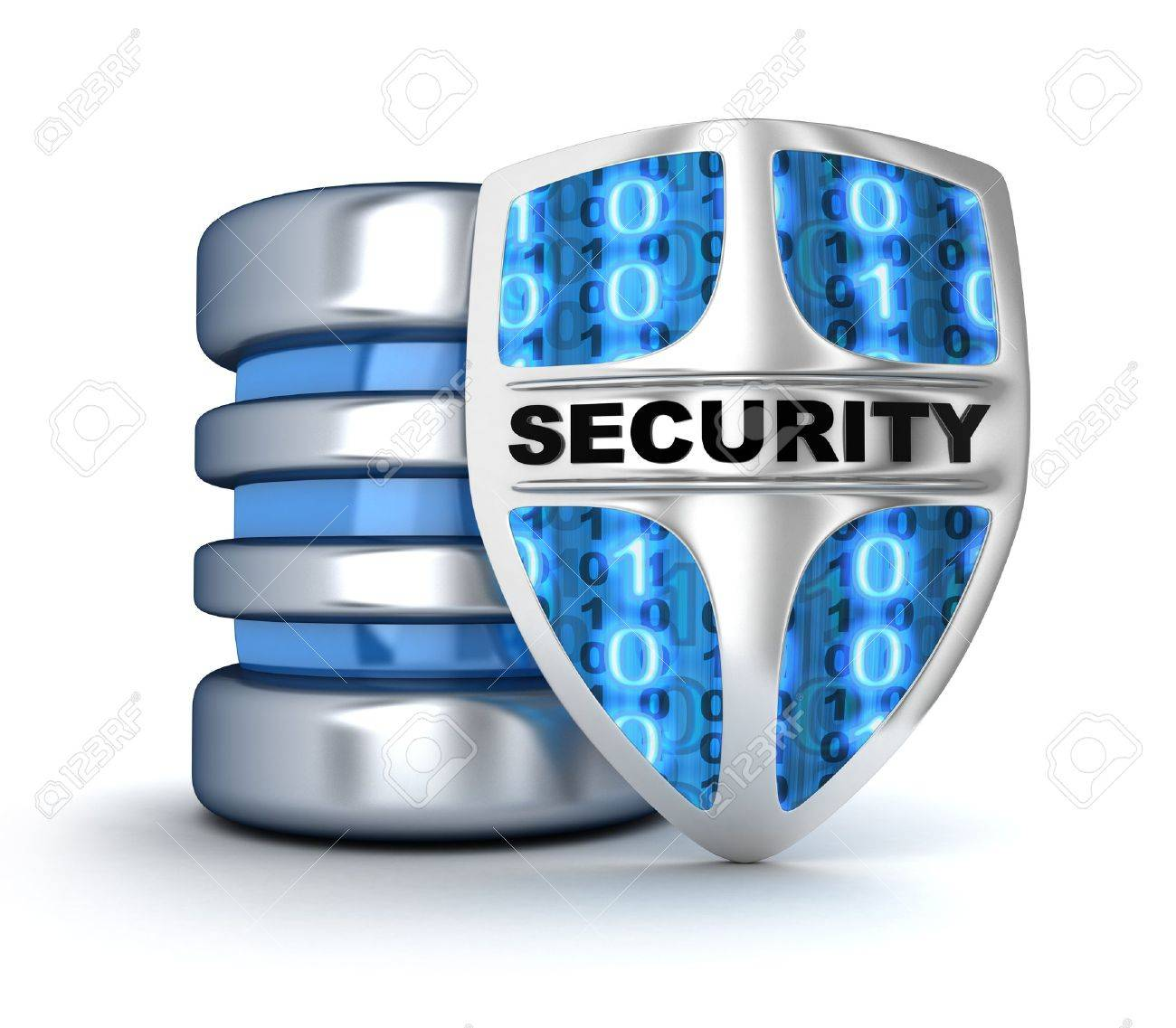 Shield and database (done in 3d) Stock Photo - 17997325