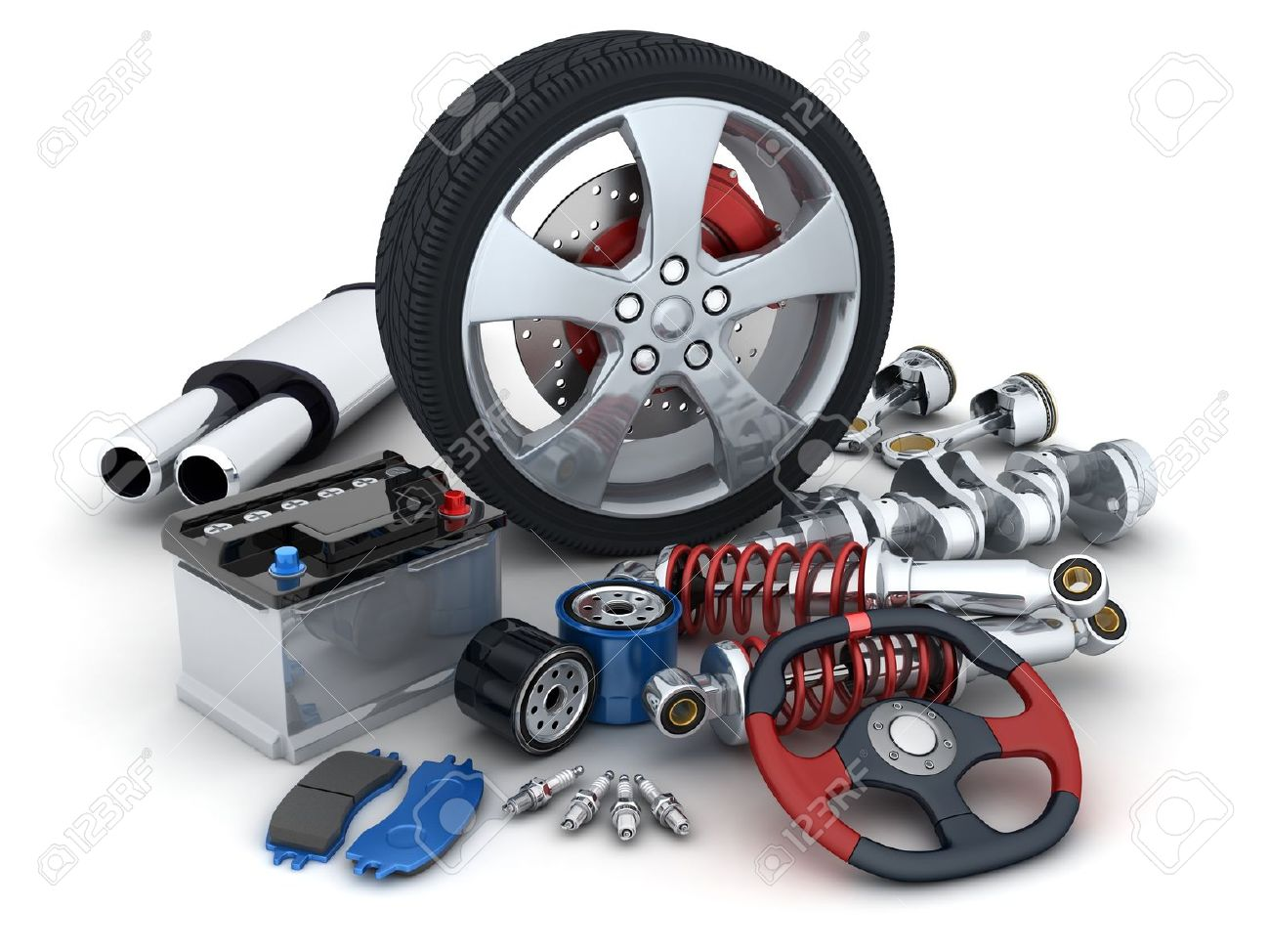 Many Auto Parts Done In 3d Stock Photo, Picture And Royalty Free ...