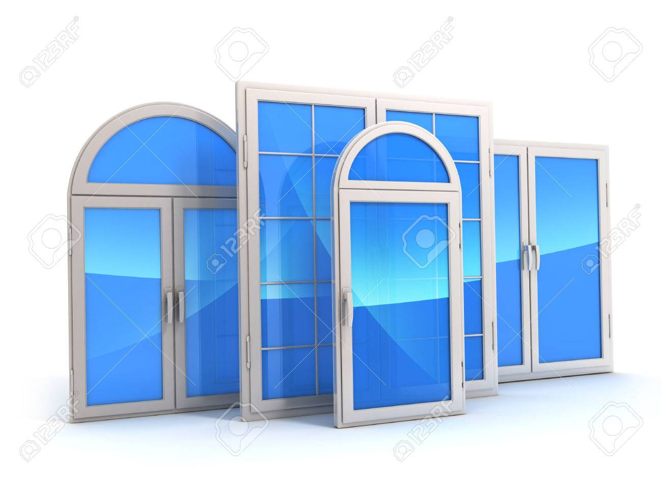 window with reflections of the sky (done in 3d) - 30686863