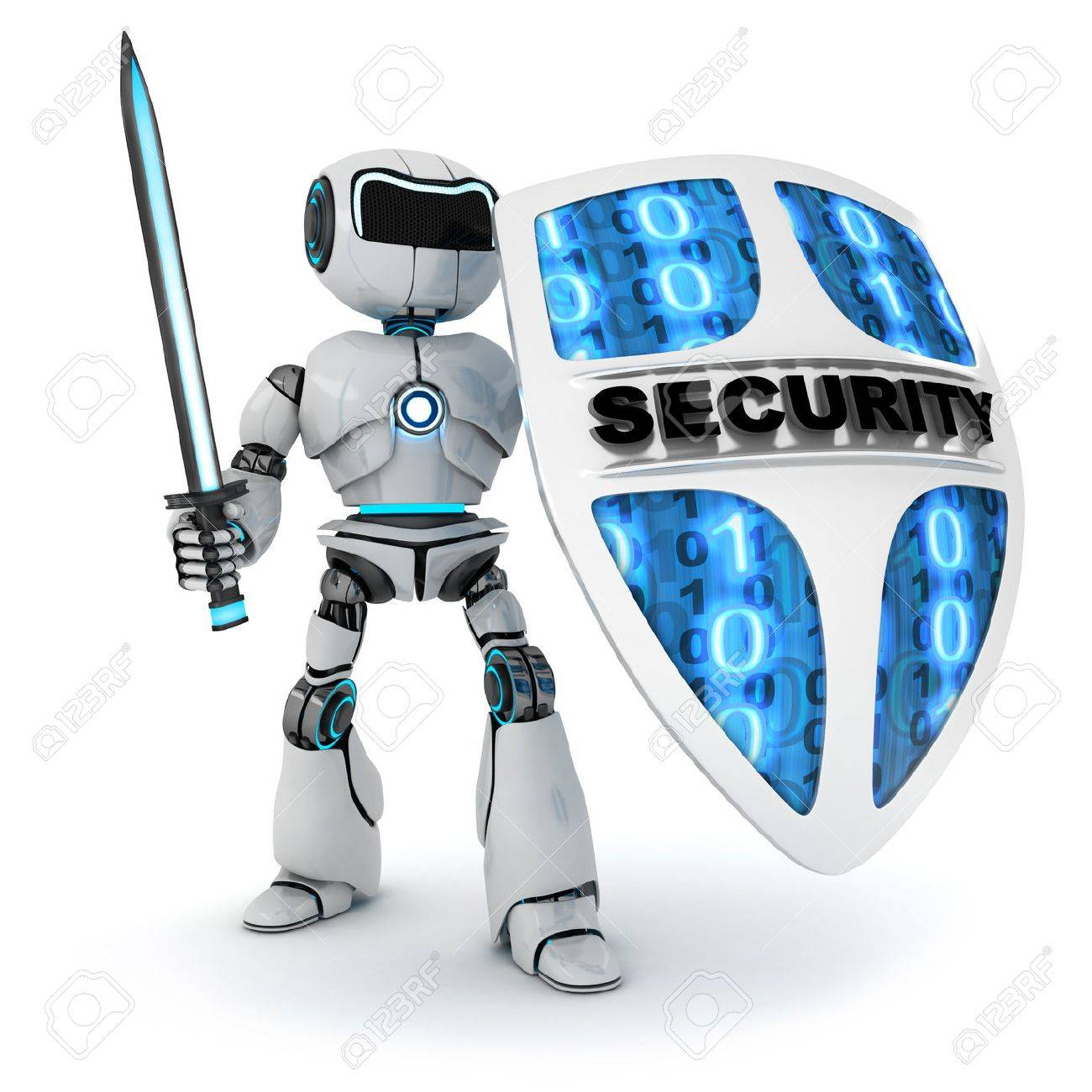 Abstract robot and shield - 31899147