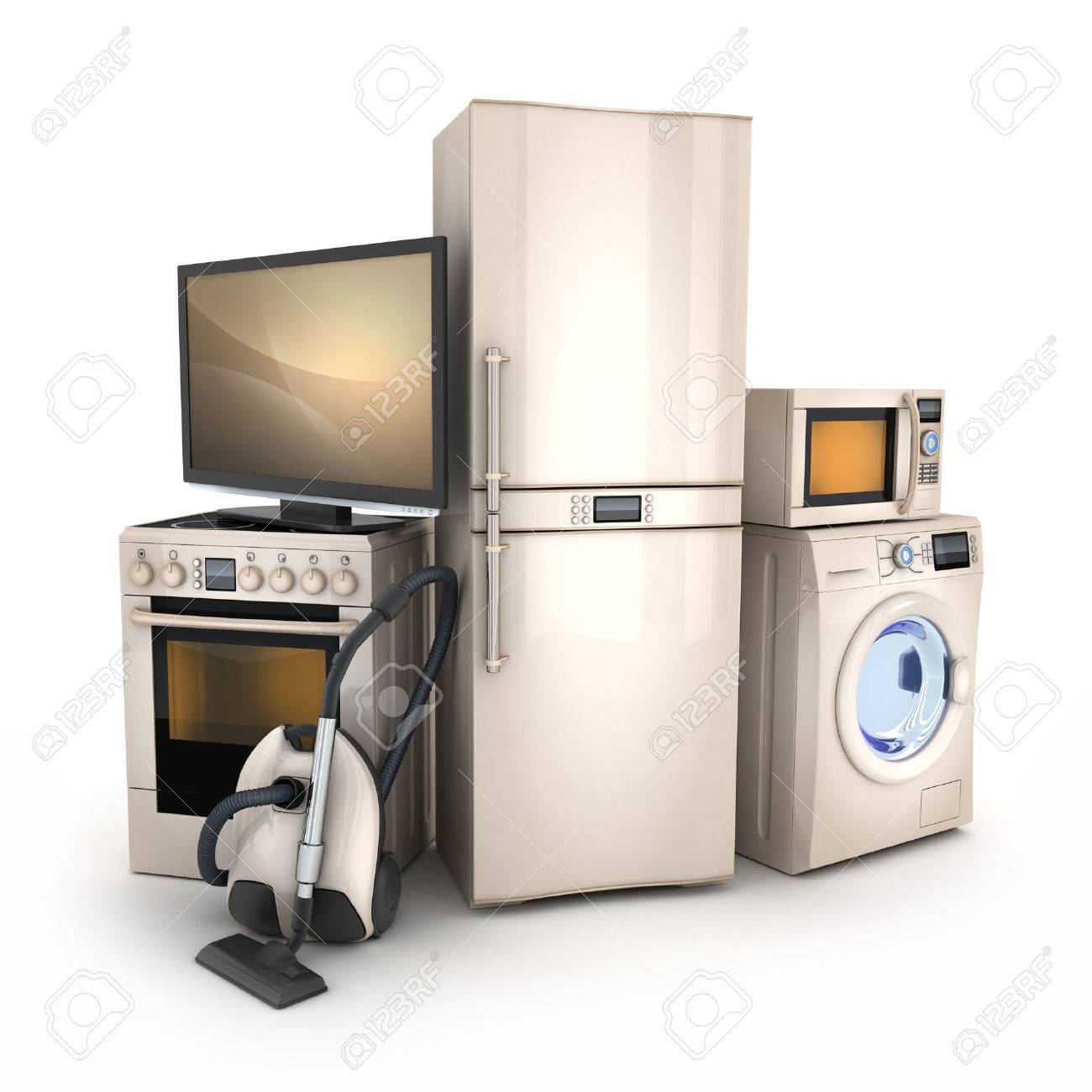 Consumer electronics.TV,Fridge,vacuum cleaner,microwave,washer and electric-cooker - 34105435