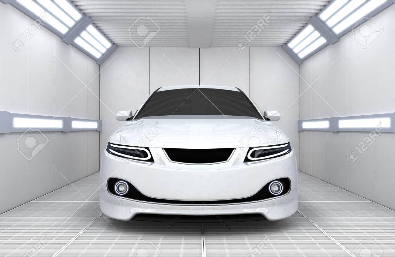 White car in garage (done in 3d) - 34602928