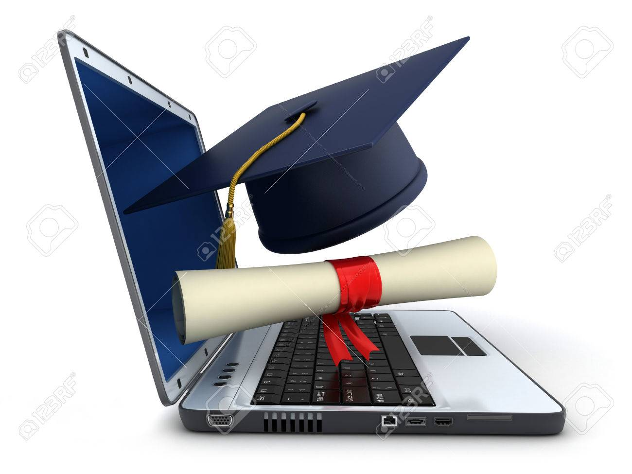 Laptop and trencher, diploma on white background (done in 3d) - 38007746