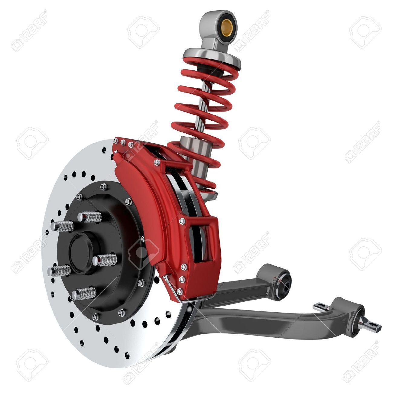 Car suspension and brake disk (done in 3d, isolated) - 38777803