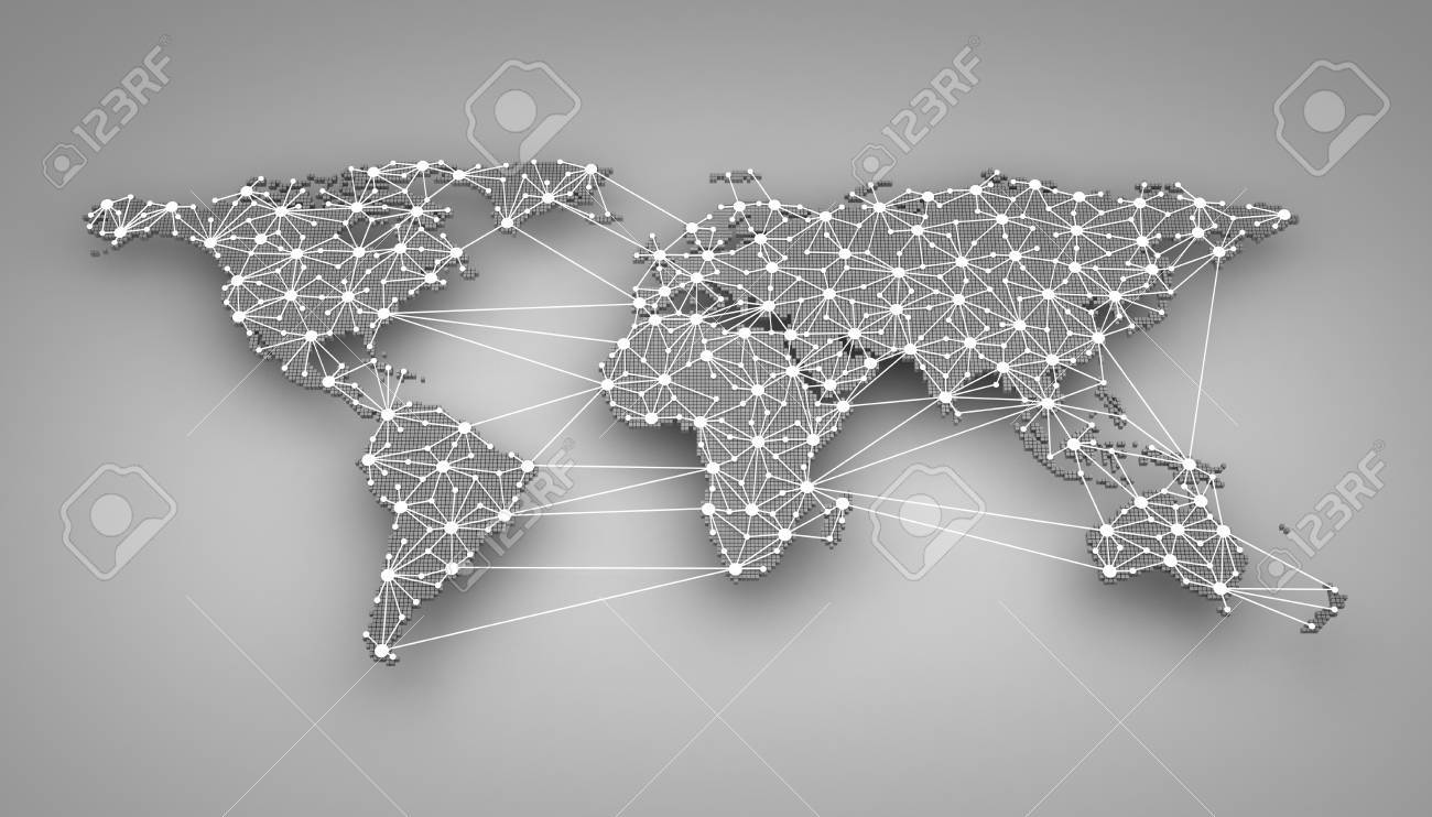 World-wide web on blue background (done in 3d) - 40914423