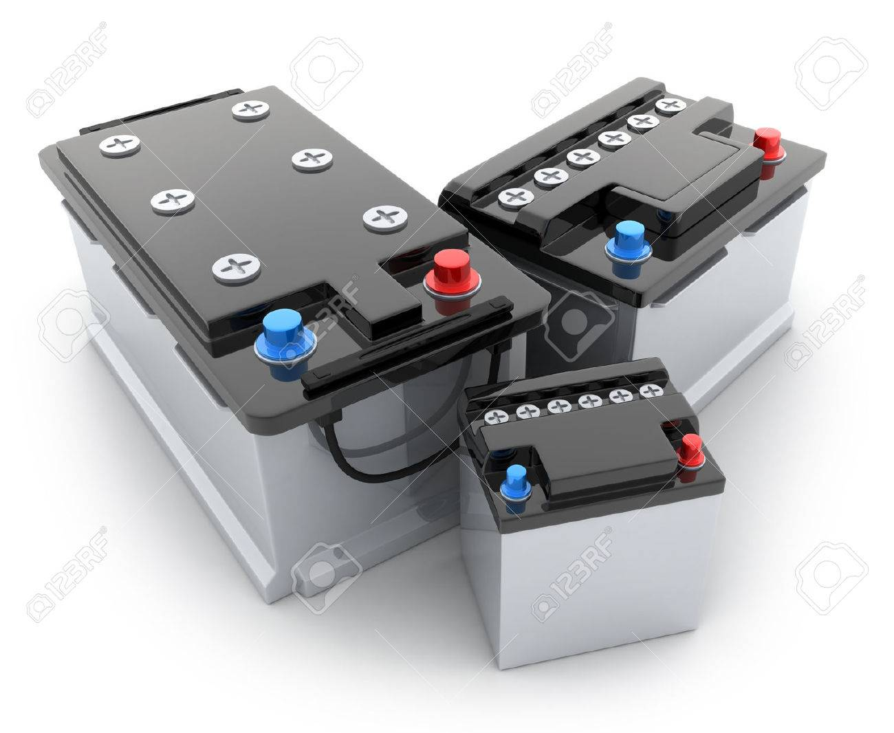 Three battery car on white background (done in 3d) - 41726439