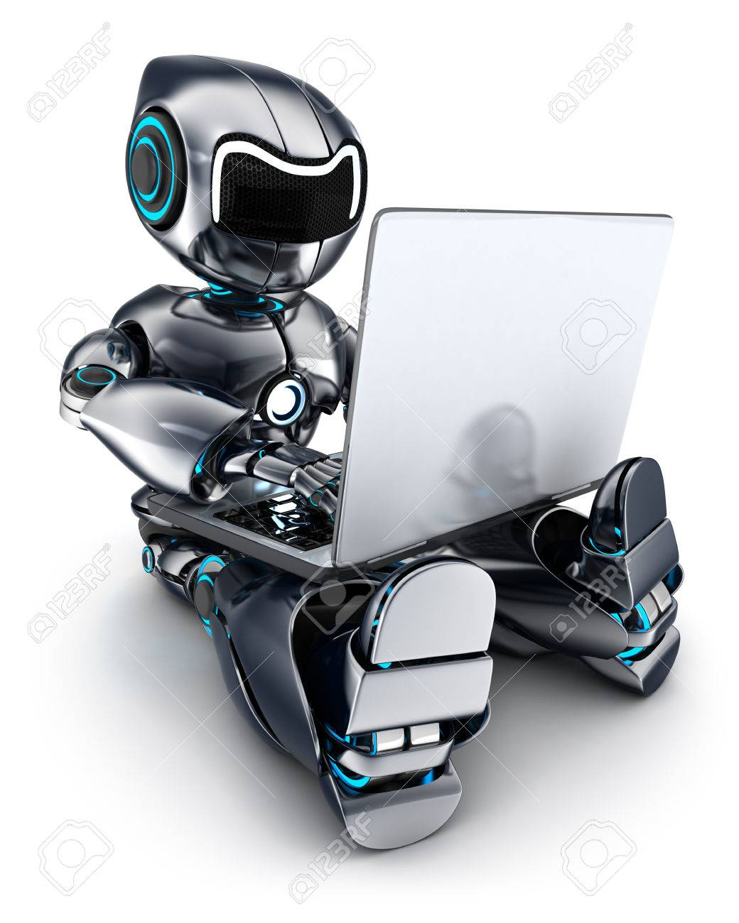 Robot working on laptop (done in 3d) - 44192977