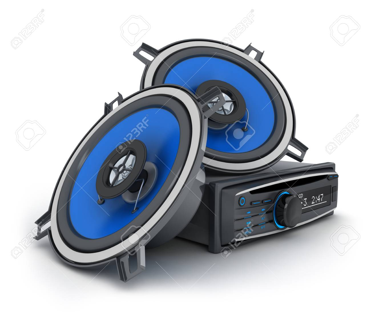 Audio system car 3d illustration - 52407811