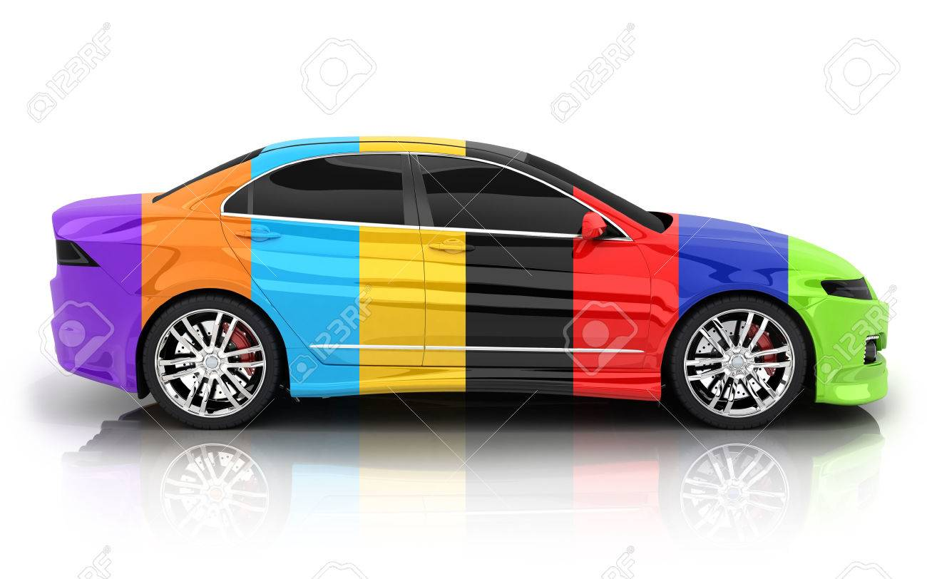 Car in different colors on a white background (done in 3d rendering) - 60987802