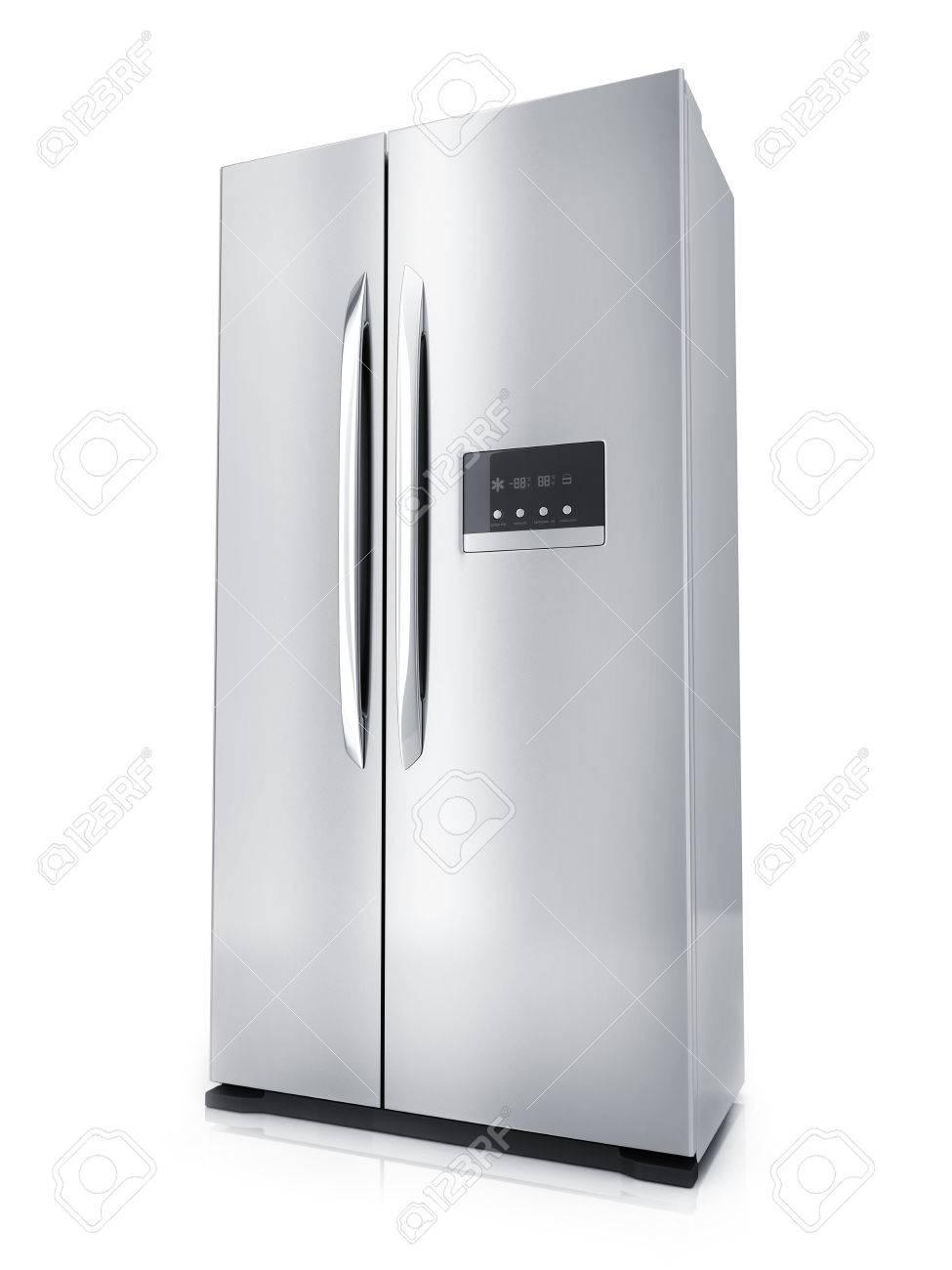 Moderner Großer Kühlschrank Auf Weißem Hintergrund (getan In Der ...