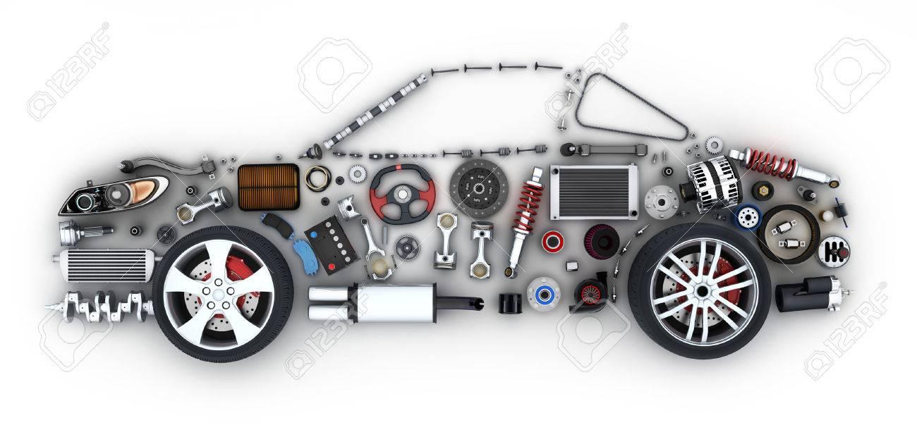 Abstrakt Auto Und Viele Fahrzeuge Teile (in 3D-Rendering ...