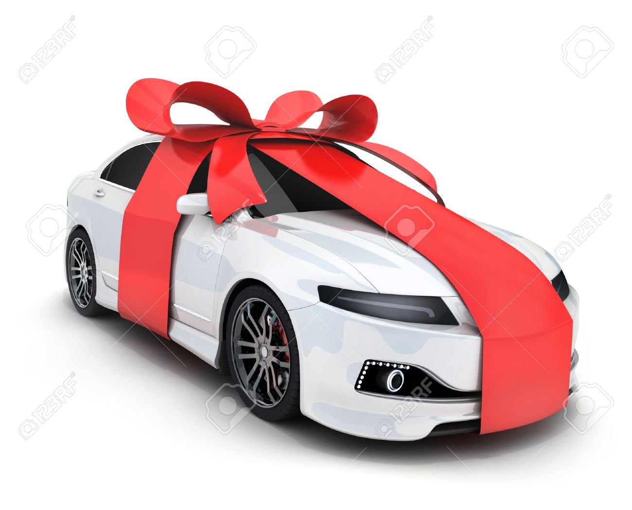 Car and ribbon gift on white background (done in 3d rendering) - 65663336