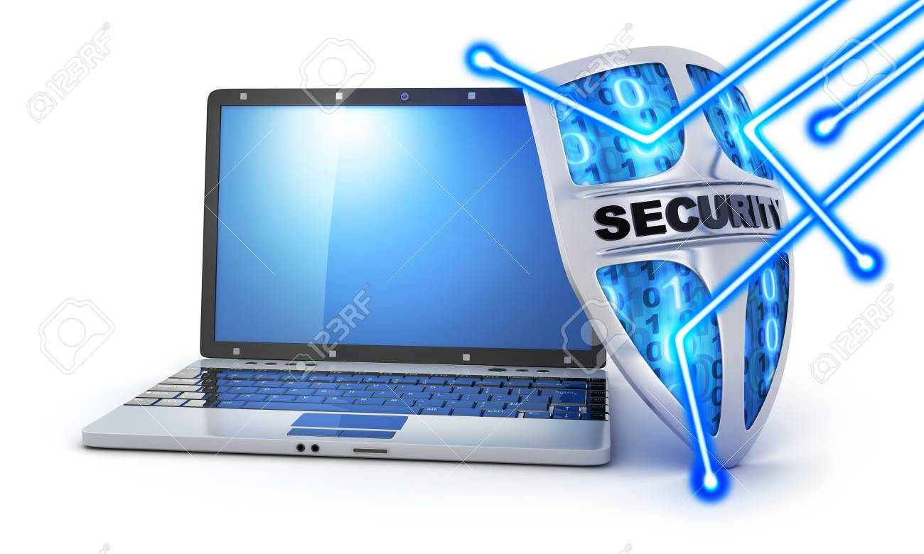 Shield antivirus and laptop, abstract (done in 3d rendering)