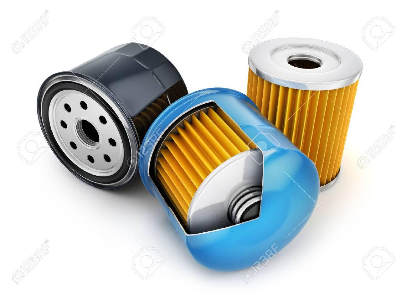 Three oil filter on white background. 3d illustration - 69561663