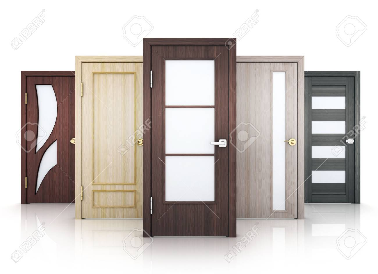 Five doors row on white background. 3d illustration. - 71390458