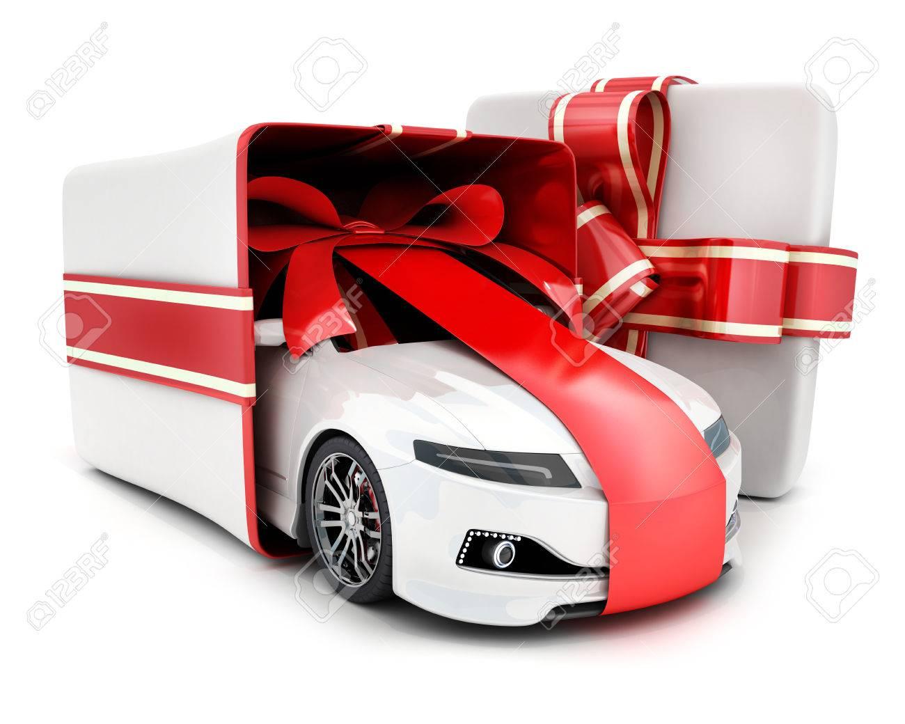 Voiture En Boîte Et Ruban Cadeau Sur Fond Blanc Illustration 3d