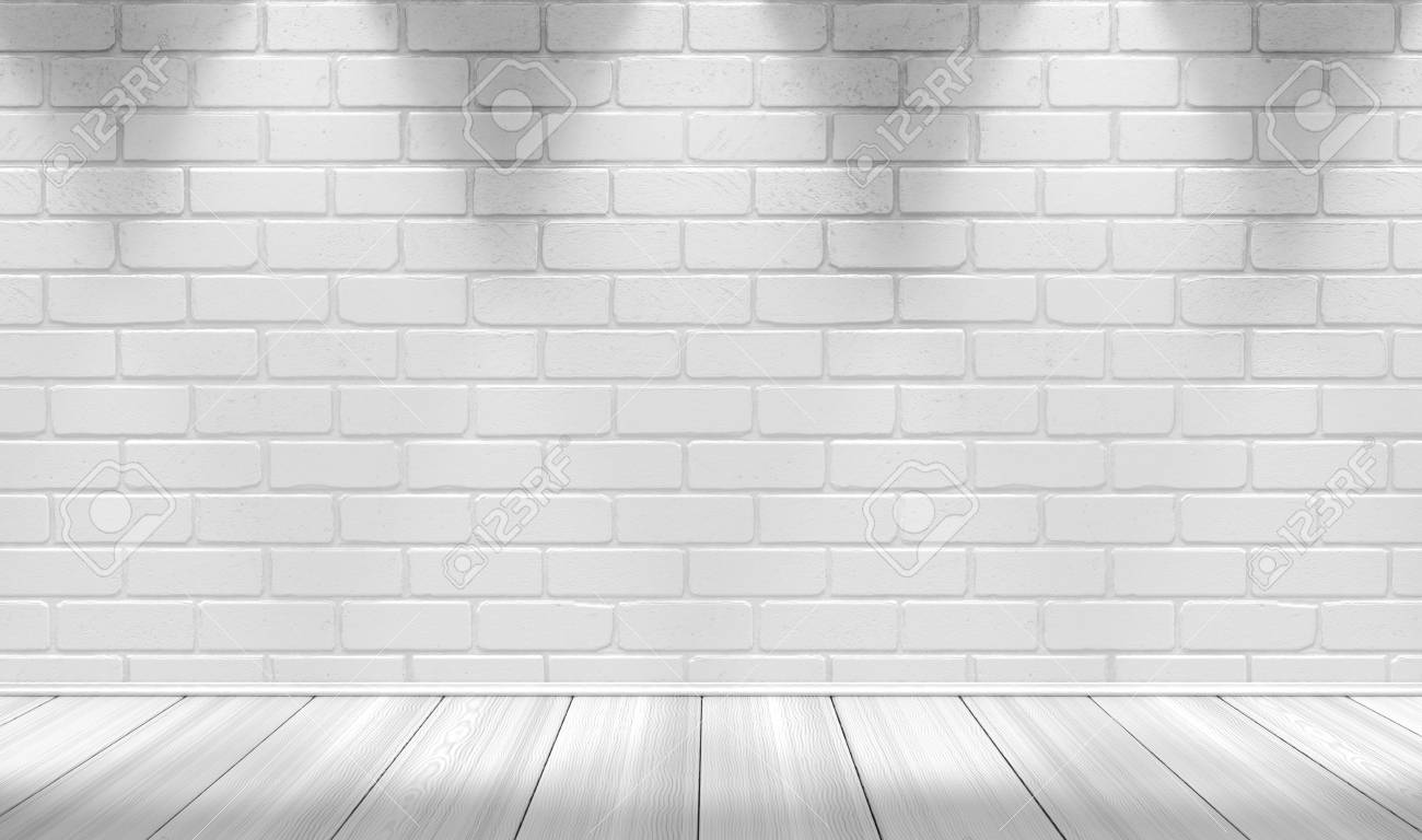 White Brick Wall Background And Light Lamp 3d Illustration Stock Photo Picture And Royalty Free Image Image 81354560
