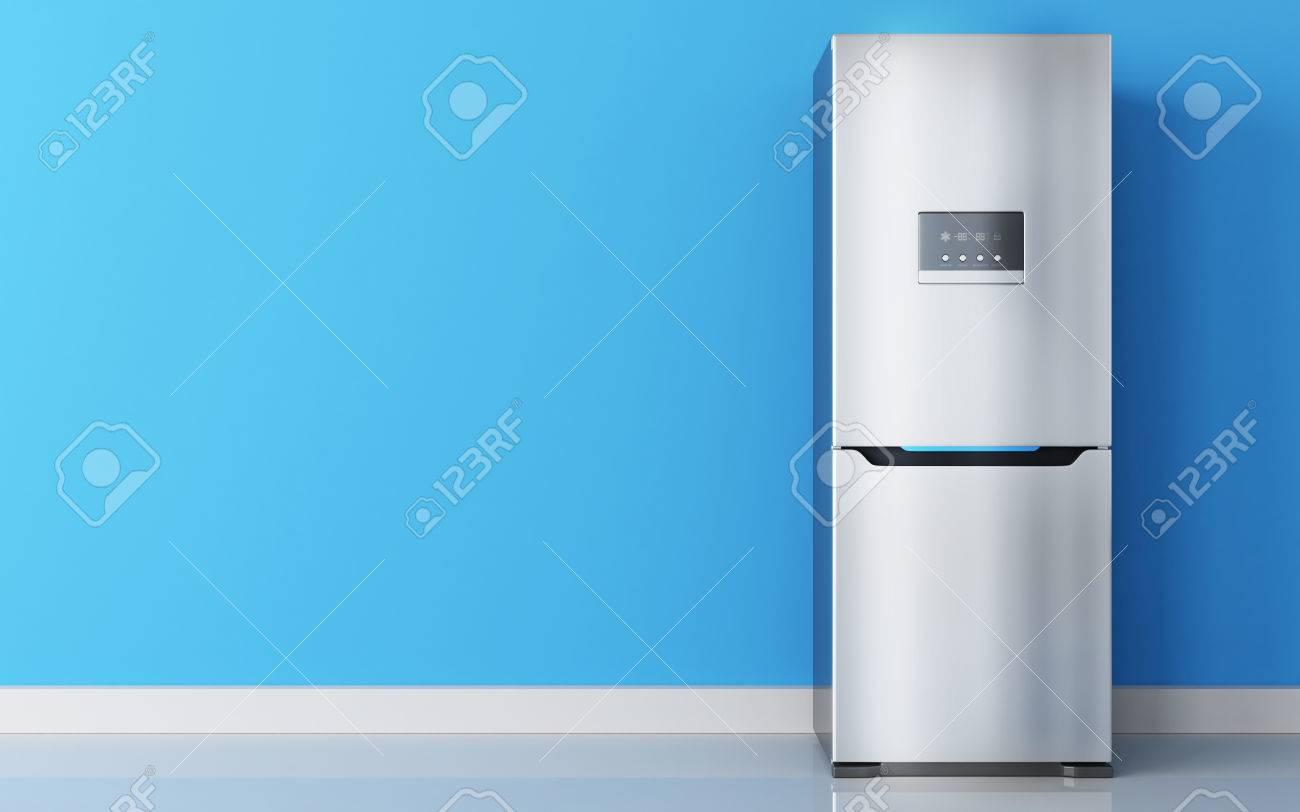 Kühlschrank Edelstahl : Moderner edelstahl kühlschrank und blaue wand. 3d darstellung