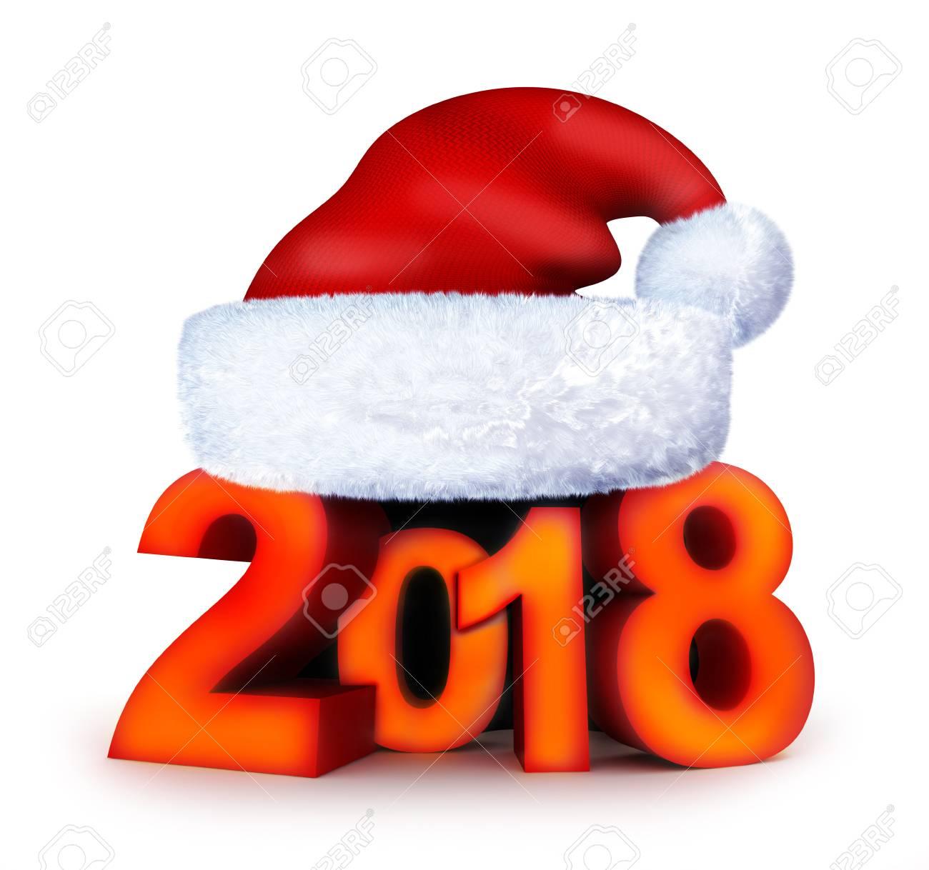 illustration new year 2018 and santa cap 3d illustration