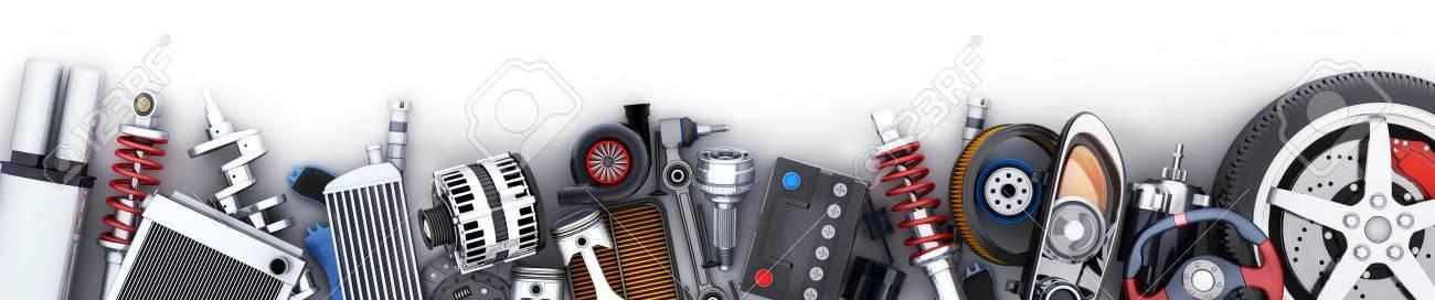 Many auto parts row. 3d illustration - 87976928