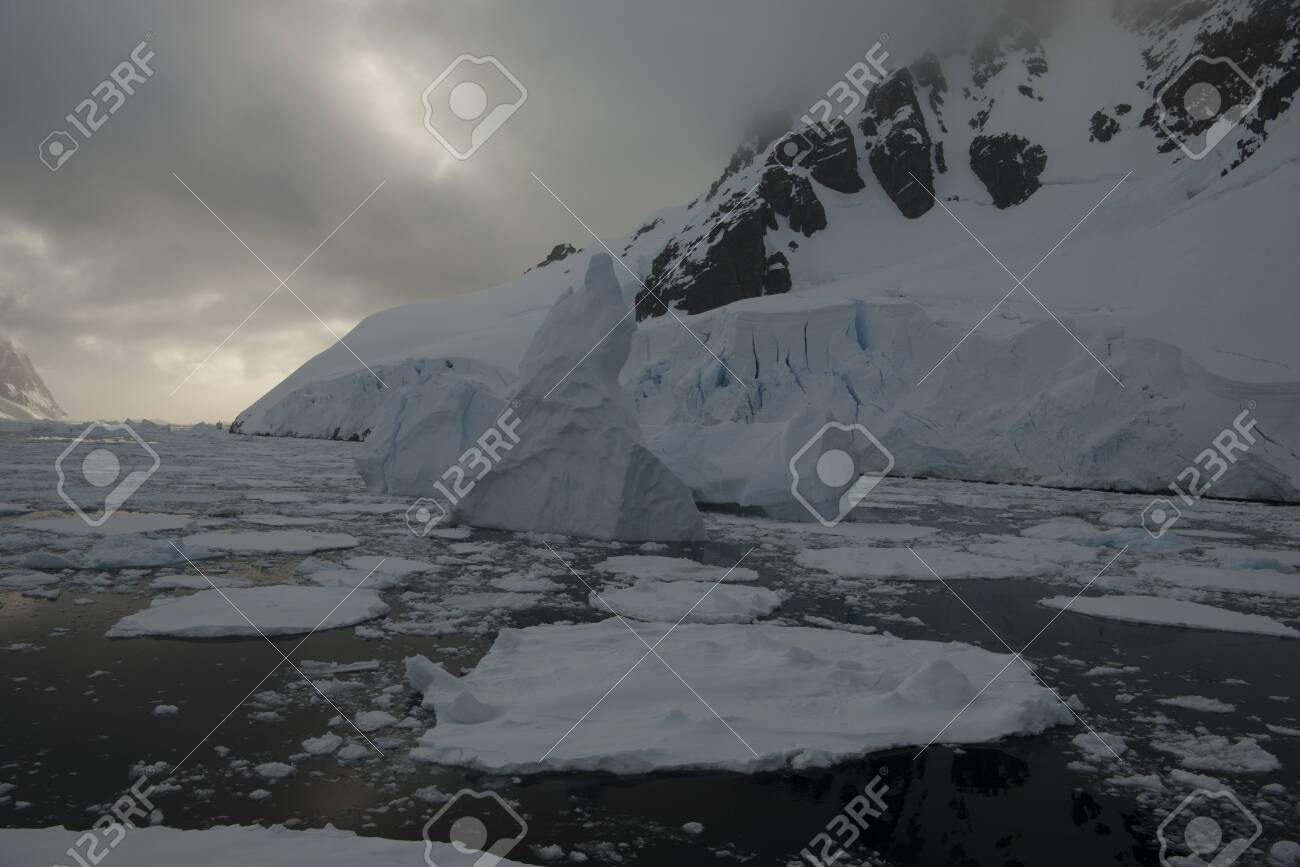 Beautiful view of icebergs and glacier in Antarctica - 142985064