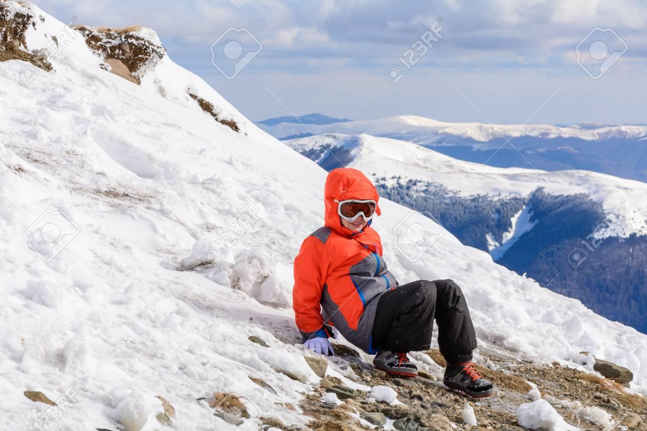 3d46a1b639c3 Boy Playing On Mountain In Wintertime. Cute Little Kid Boy In ...