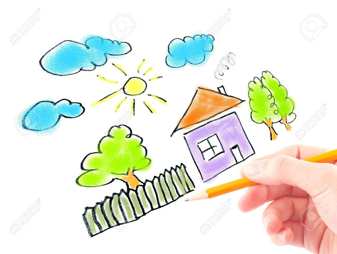 Woman's hand with the pencil and brushes drawing the dream home on a white sheet of paper Stock Photo - 9701568