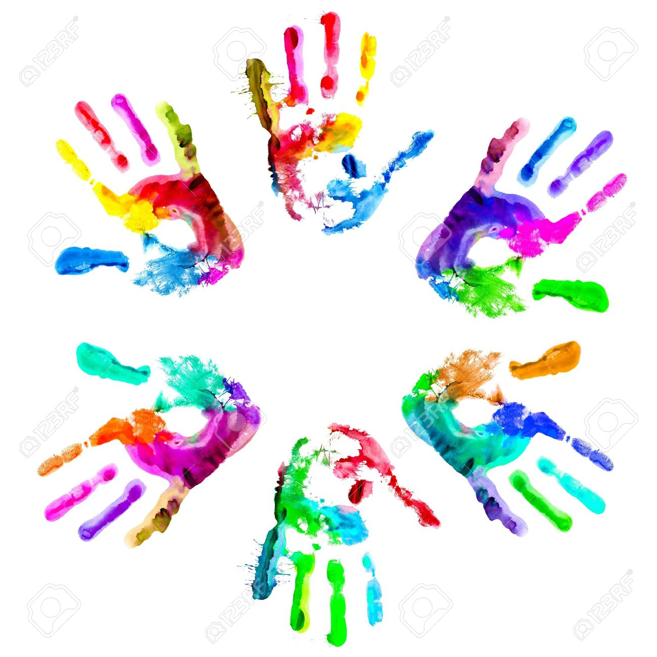 Multi coloured painted handprints arranged in a circle on a white background. - 9698534