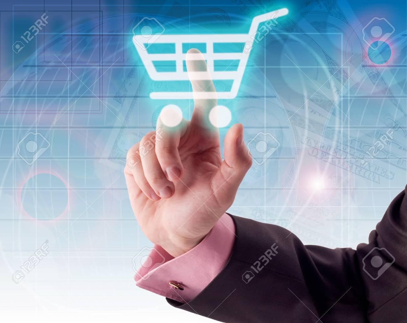 Man hand pressing shopping cart icon Stock Photo - 9700554