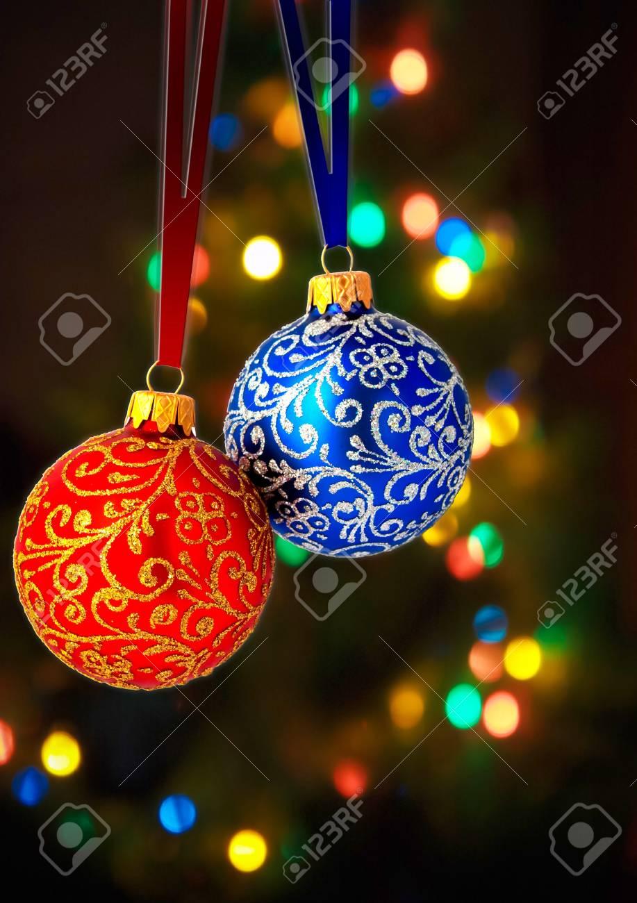 Christmas balls on abstract light background Stock Photo - 9700928