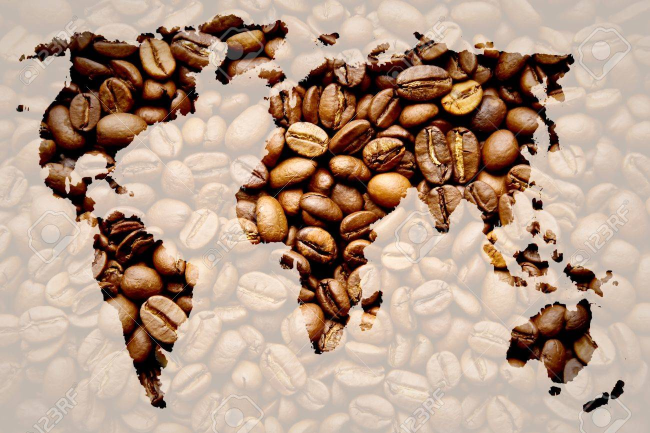 Map of the world of coffee on coffee background. Coffee world concept Stock Photo - 9700938