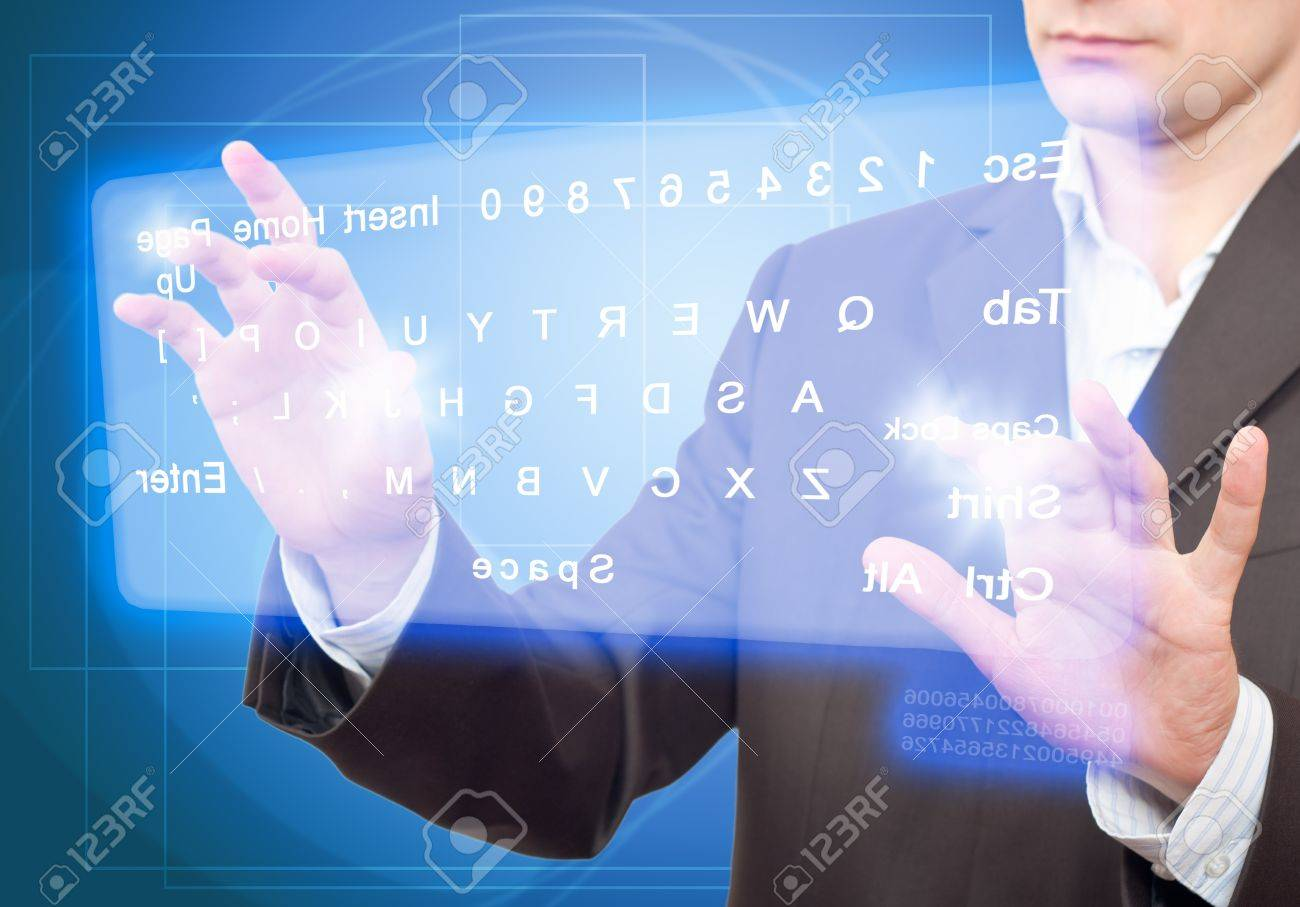 Hands pushing a button on a touch screen. Virtual Keyboard. Stock Photo - 9698447