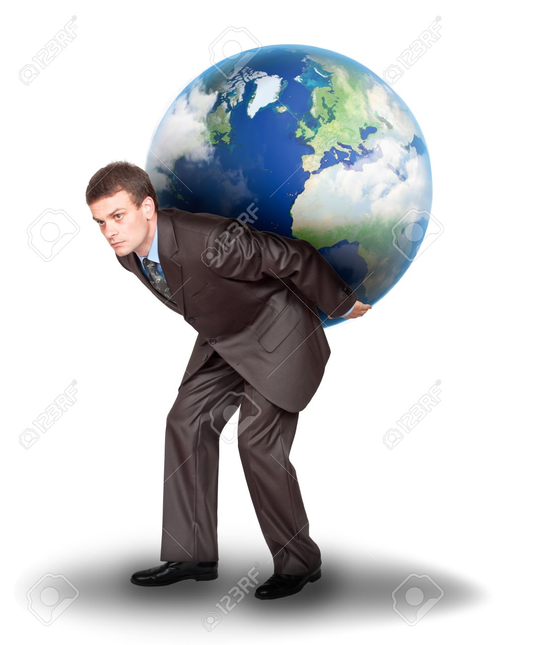 Businessman with the earth on his back. Isolated on white background Stock Photo - 9836966