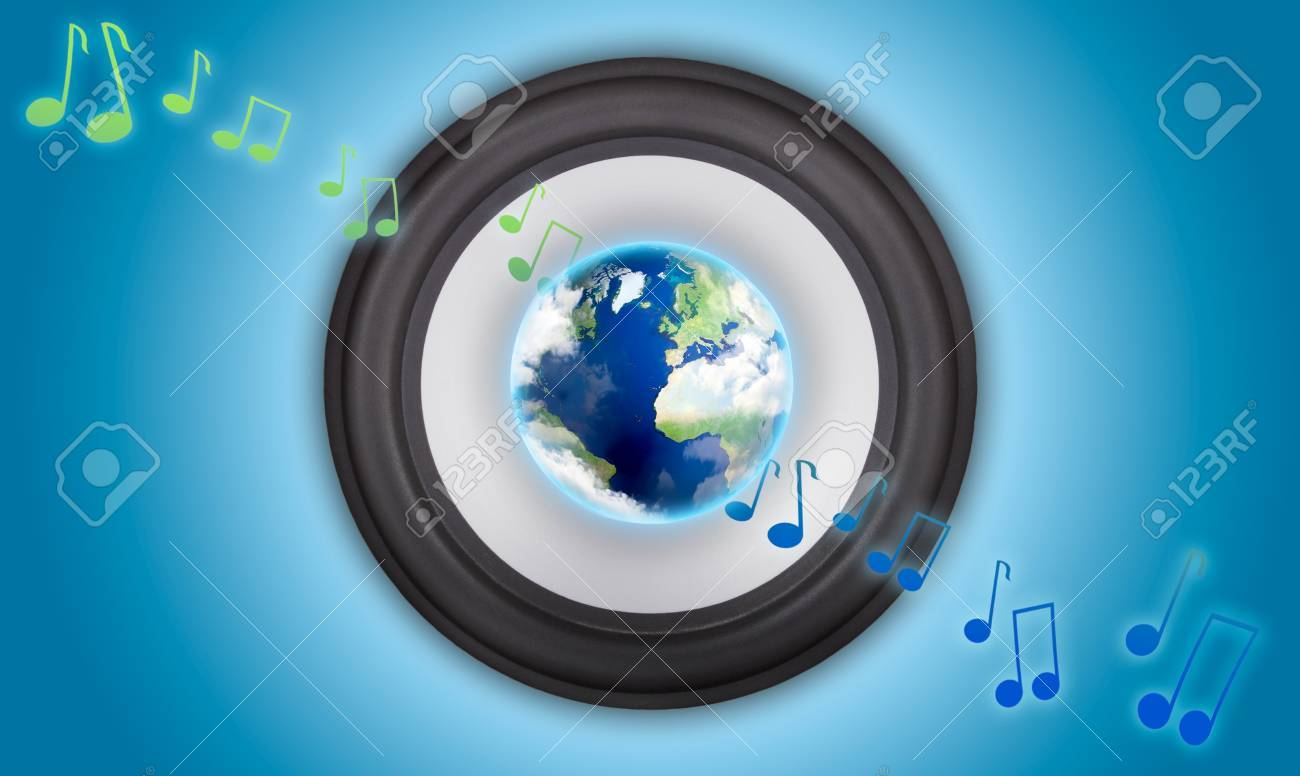 Music speaker with a globe in the center. Symbol of global music Stock Photo - 9837131