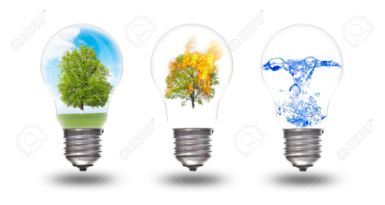 Fire Light Bulb: Light bulb with three elements inside: nature, fire and water. The concept  of,Lighting