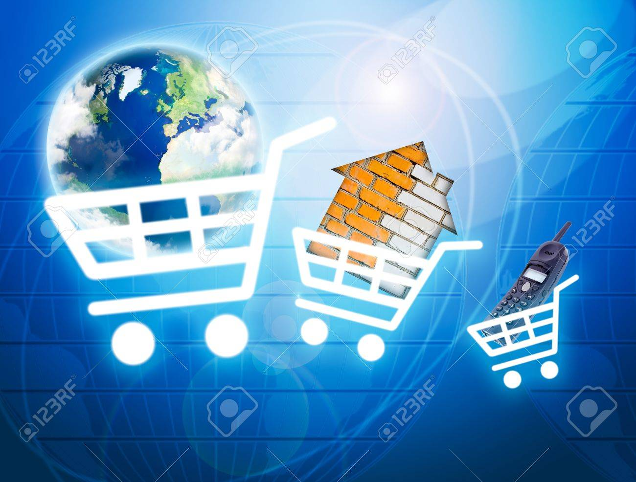 Shopping basket with earth, house, phone as a symbol of internet commerce Stock Photo - 10129236