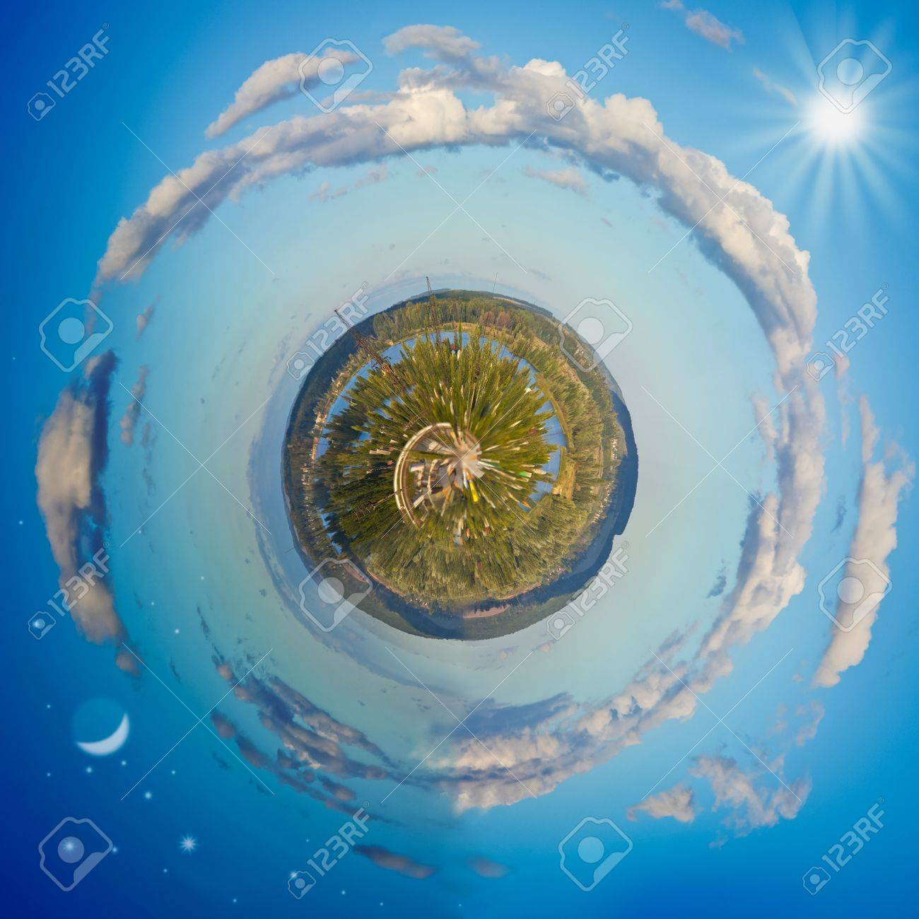 Little planet panorama with day and night Stock Photo - 10940038